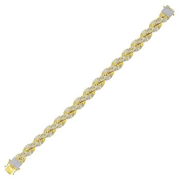 10kt Yellow Gold Mens Round Diamond Rope Chain Bracelet 8-5/8 Cttw