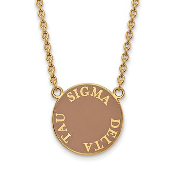 Gold-Plated Sterling Silver Sigma Delta Tau Greek Life Necklace