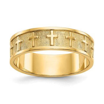 14k Polished & Satin Cross Band