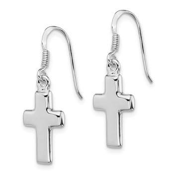Sterling Silver Rhodium-plated Polished Cross Dangle Earrings
