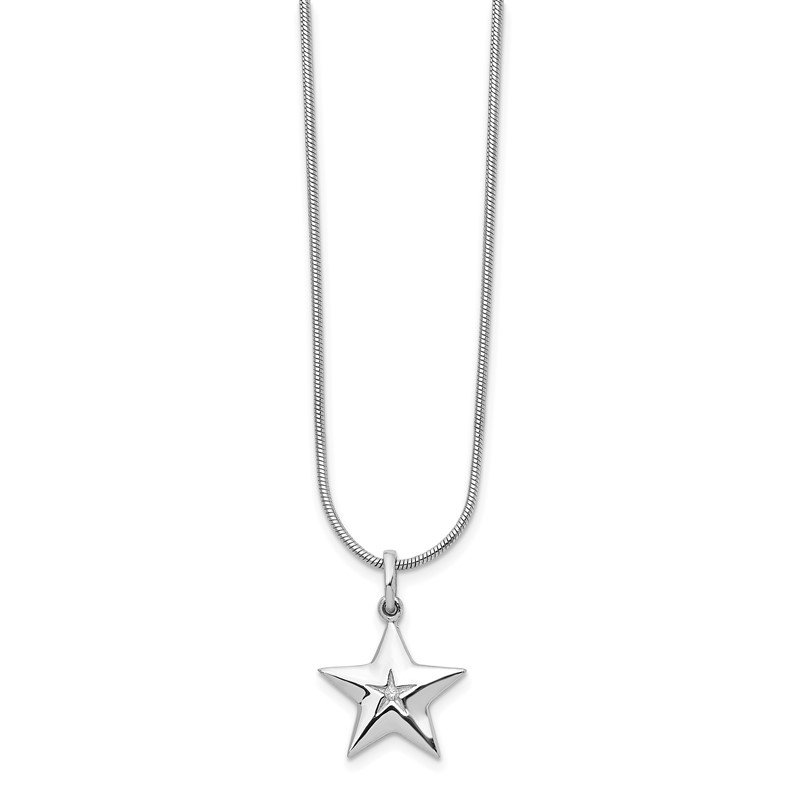 J.F. Kruse Signature Collection SS White Ice Diamond Star Necklace