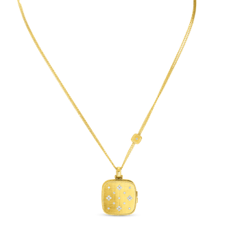 18KT GOLD & DIAMOND PRINCESS SATIN LOCKET PENDANT