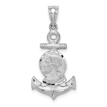 14K White Brushed & Diamond-cut Jesus Head Anchor Pendant