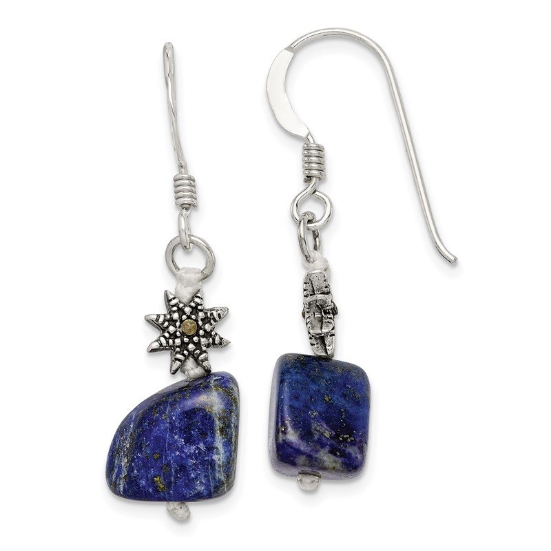 Quality Gold Sterling Silver Lapis and Marcasite Earrings
