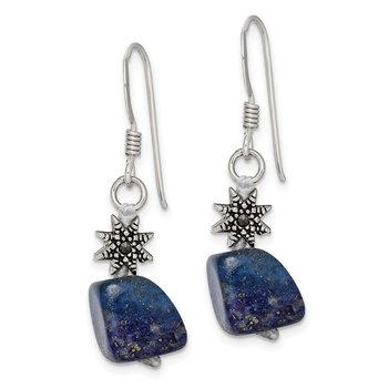 Sterling Silver Lapis and Marcasite Earrings