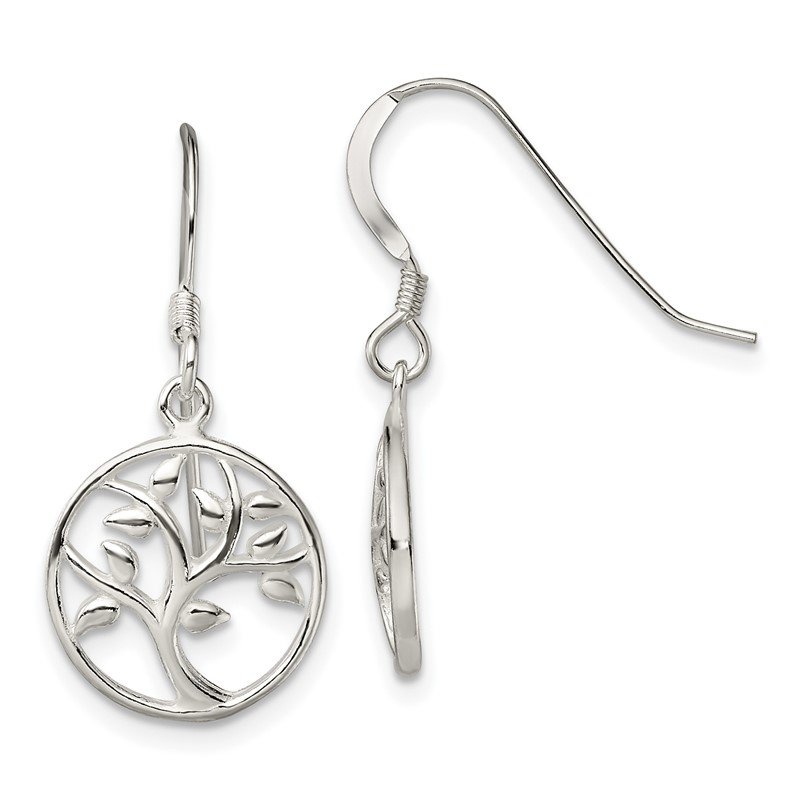 Quality Gold Sterling Silver Polished Tree Dangle Shepherd Hook Earrings