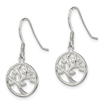 Sterling Silver Polished Tree Dangle Shepherd Hook Earrings