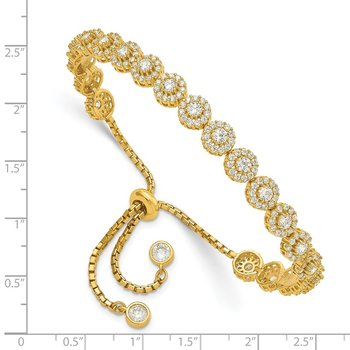 Sterling Silver Gold-tone CZ Halo Adjustable Bracelet