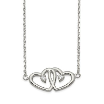 Sterling Silver Polished Two Hearts CZ Necklace