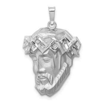 14k White Gold Hollow Polished/Satin Medium Jesus Medal