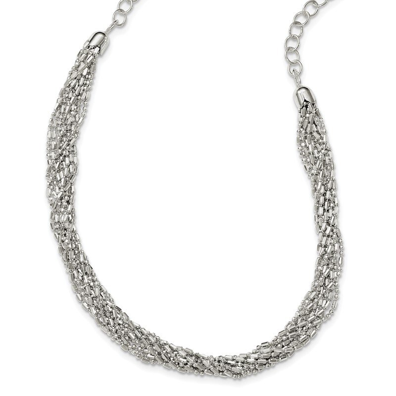 Quality Gold Sterling Silver Twisted Multi-Strand Necklace