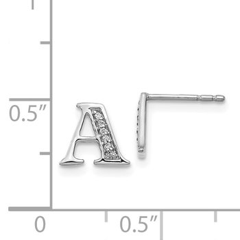 14k White Gold Diamond Initial A Earrings
