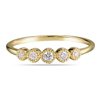 14K Band with 5 round Diamonds 0.15C