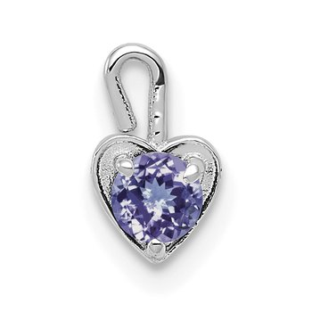 14k White Gold June Synthetic Birthstone Heart Charm