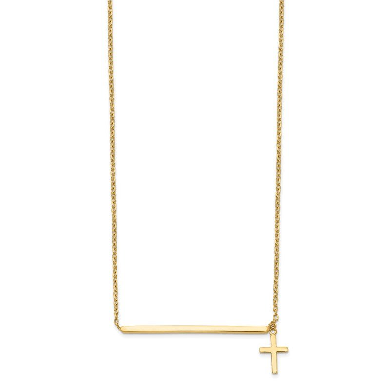 Quality Gold 14k Polished Cross w/ 2in ext. Necklace