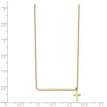 14k Polished Cross w/ 2in ext. Necklace