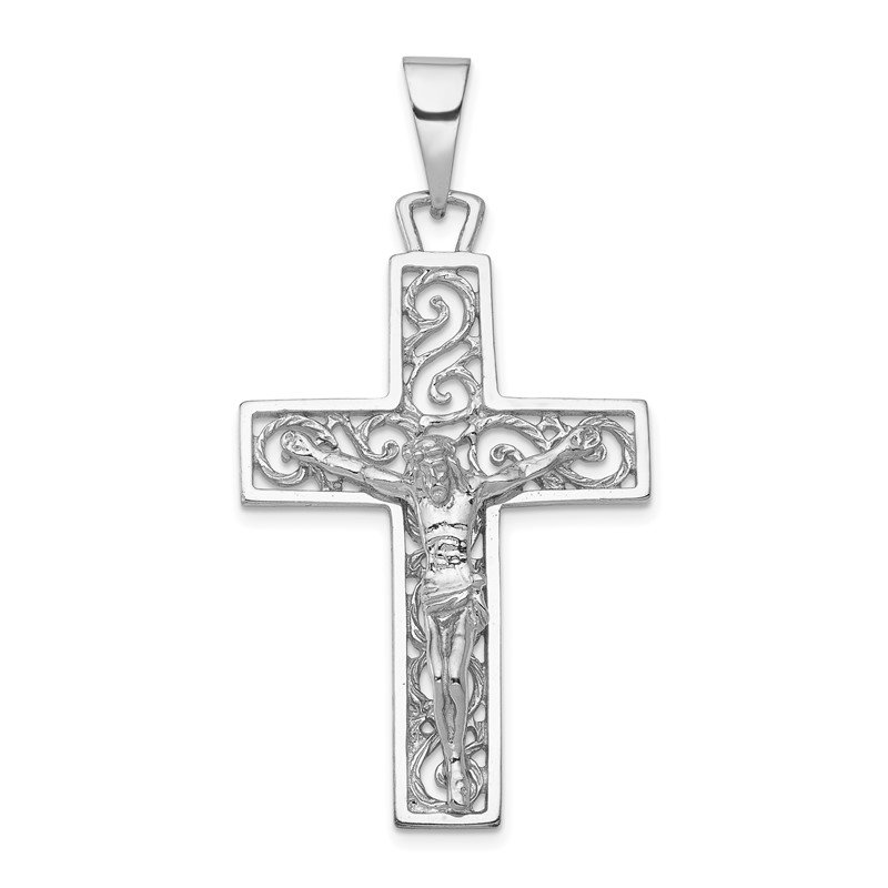 Quality Gold 14k White Gold Crucifix Pendant