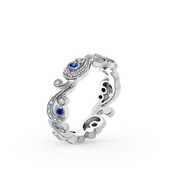 Natural Sapphire Diamond Wedding Band