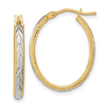 14k White Rhodium Diamond-cut Textured Hoop Earrings
