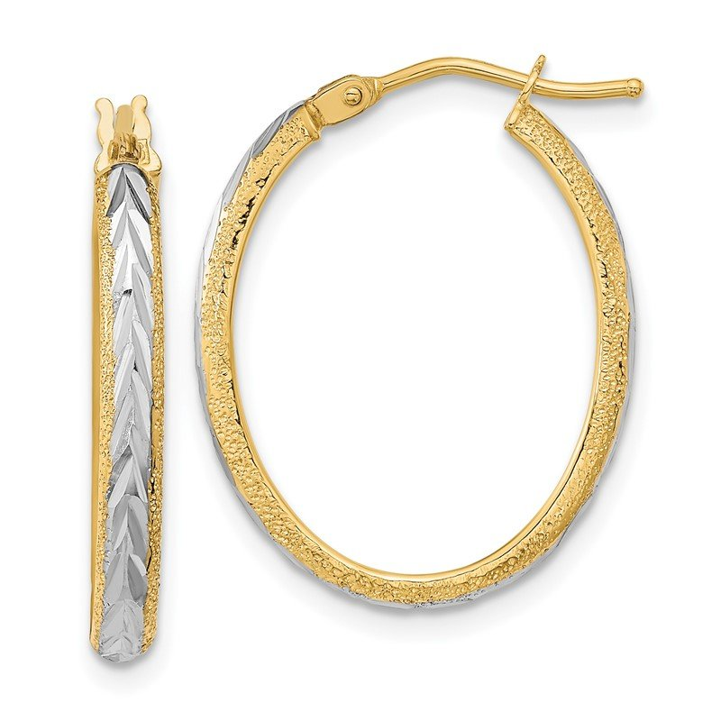 Quality Gold 14k Gold & White Rhodium D/C and Textured Hoop Earrings
