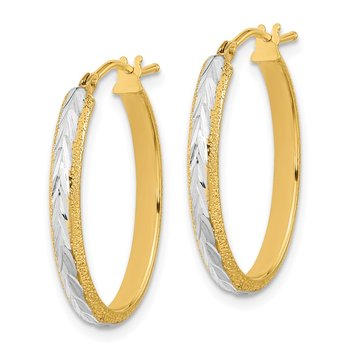 14k Gold & White Rhodium D/C and Textured Hoop Earrings