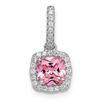 Sterling Silver Rhodium-plated Pink & White CZ Slide