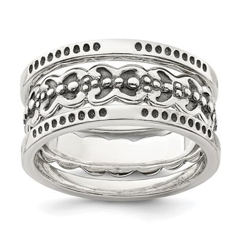 Sterling Silver Three Piece Set Antiqued Bands