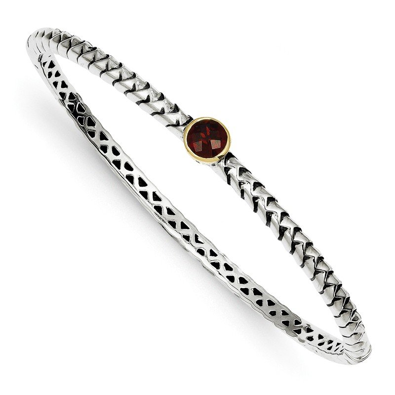Shey Couture Sterling Silver w/14k 6mm Garnet Bangle Bracelet