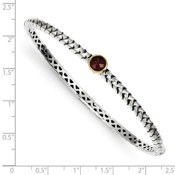 Sterling Silver w/14k 6mm Garnet Bangle Bracelet