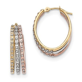 14k Tri-Color Diamond Fascination Three Oval Hoop Earrings