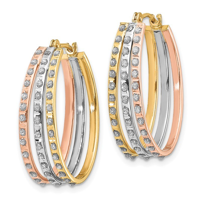 Quality Gold 14k Tri-Color Diamond Fascination Three Oval Hoop Earrings