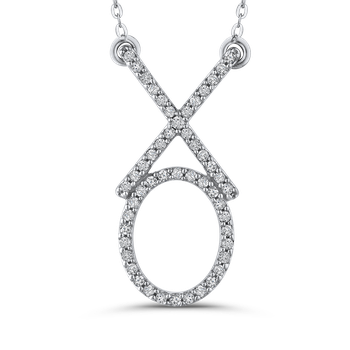 "10K White Gold 1/5 ct Round Diamond ""XO"" Fashion Pendant with Chain"