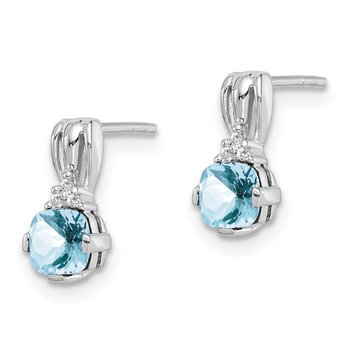 Sterling Silver Rhodium Plated Dia. Aquamarine Round Post Earrings