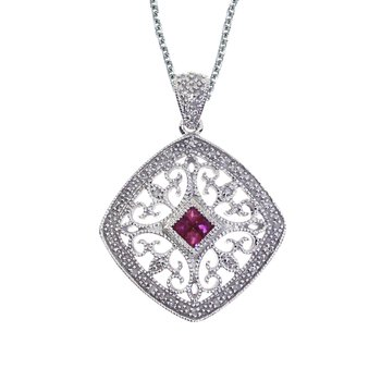 14k White Gold Ruby and Diamond Filigree Square Pendant