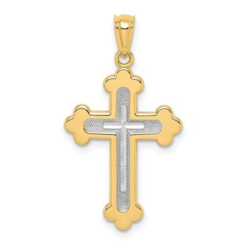 14k Two-tone Polished Budded Cross