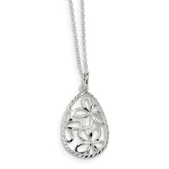 Sterling Silver Polished and D/C Floral Teardrop 17.5in Necklace