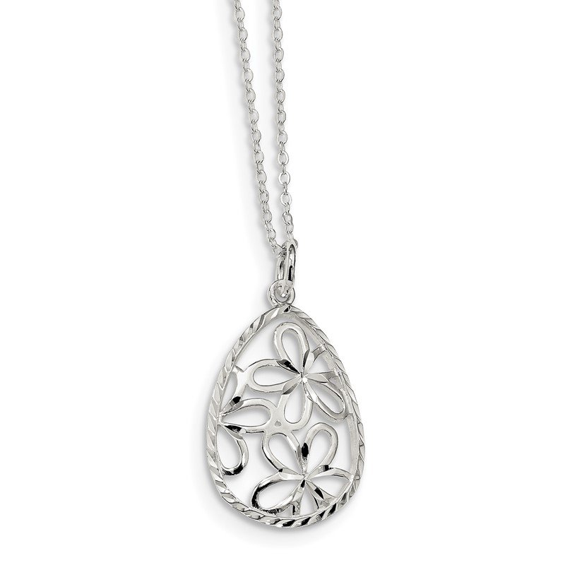 Quality Gold Sterling Silver Polished and D/C Floral Teardrop 17.5in Necklace