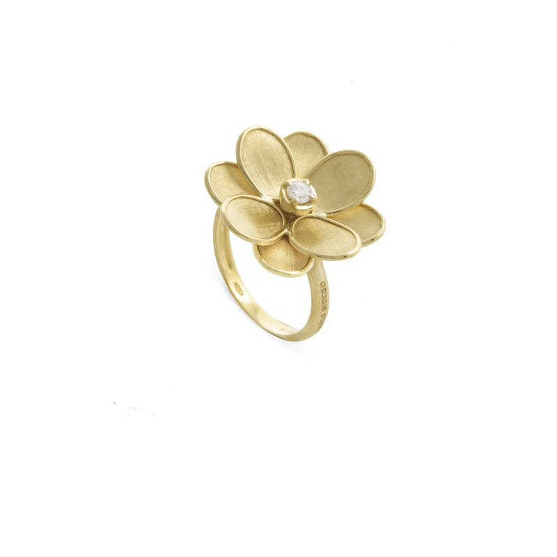 Marco Bicego Marco Bicego® Petali Collection 18K Yellow Gold and Diamond Small Flower Ring