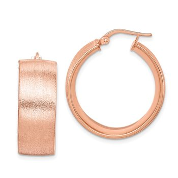 Sterling Silver Rose-plated Textured Hoop Earrings