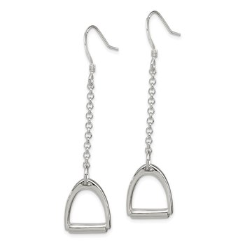 Sterling Silver Polished Horse Stirrup Dangle Earrings