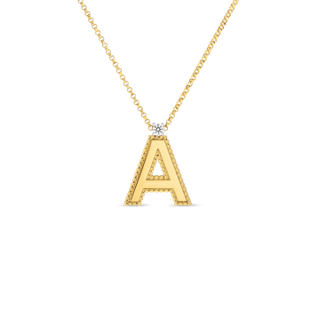 18KT GOLD PRINCESS LETTERS A - Z PENDANTS WITH DIAMONDS (LARGE)