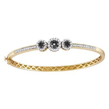 14kt Yellow Gold Womens Round Black Color Enhanced Diamond Triple Cluster Bangle Bracelet 1.00 Cttw