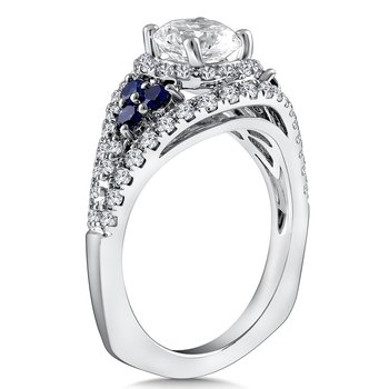 Diamond & Blue Sapphire Halo Engagement Ring Mounting in 14K White Gold with Platinum Head (.63 ct. tw.)