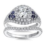 Caro74 Diamond & Blue Sapphire Halo Engagement Ring Mounting in 14K White Gold with Platinum Head (.63 ct. tw.)