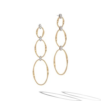Marrakech Onde Collection 18K Yellow Gold and Diamond Flat Link Triple Drop Earrings