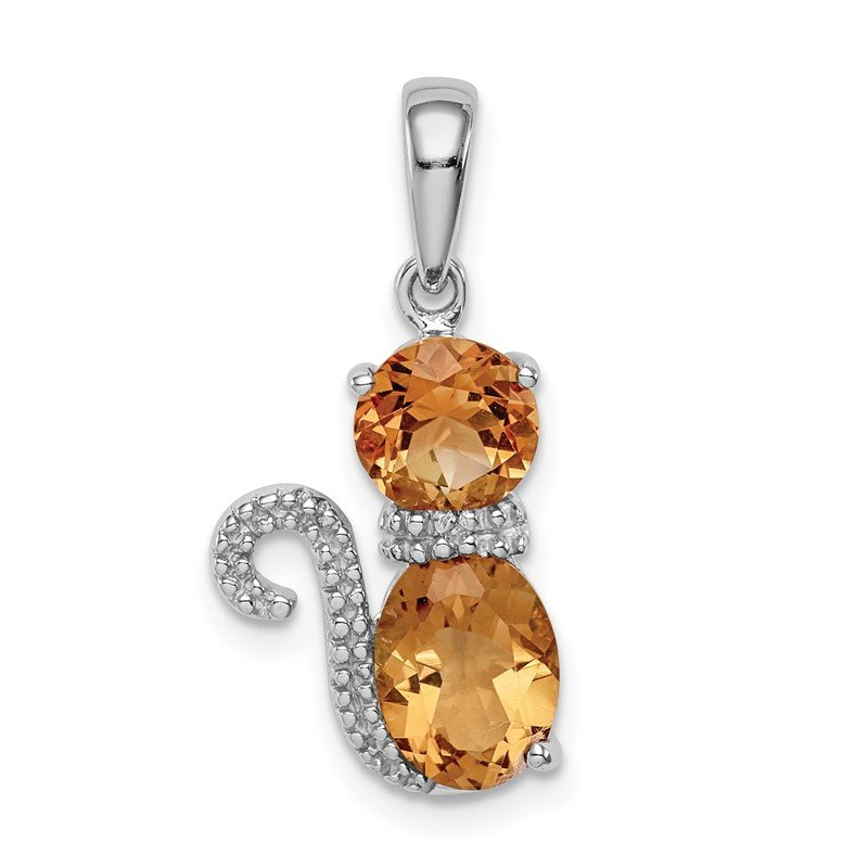 Quality Gold Sterling Silver Rhodium-plated Citrine and Diamond Cat Pendant