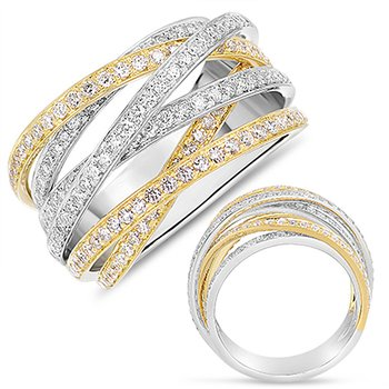 Yellow & White Gold Pave Ring