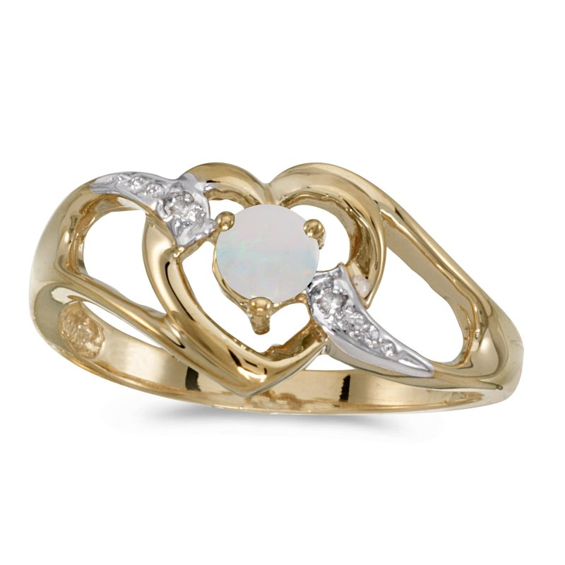 Color Merchants 14k Yellow Gold Round Opal And Diamond Heart Ring