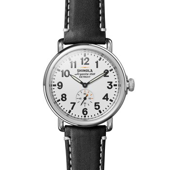 Watch: Runwell 41mm, Black Leather Strap