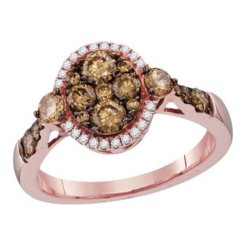 14kt Rose Gold Womens Round Cognac-brown Color Enhanced Diamond Cluster Bridal Wedding Engagement Ring 1.00 Cttw